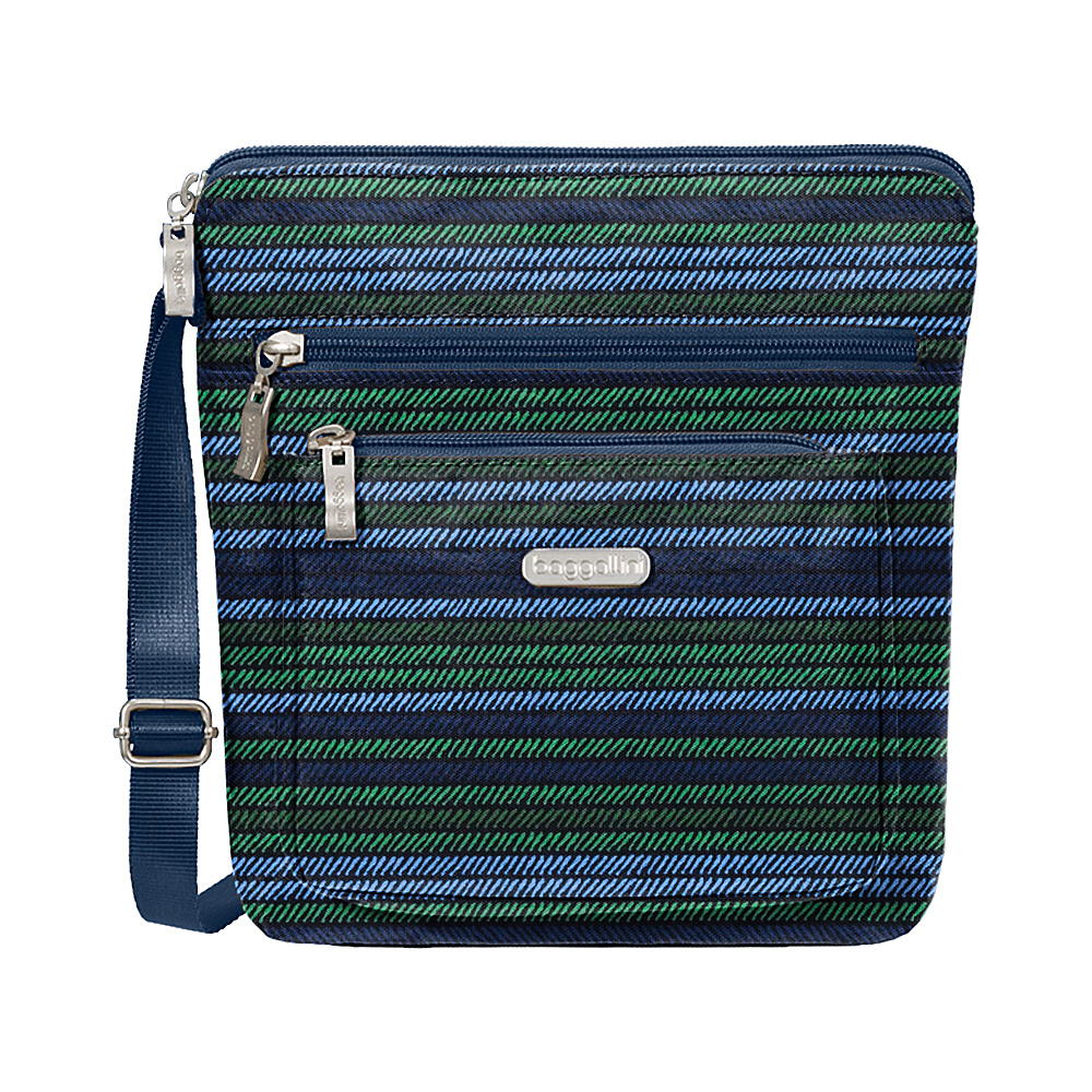 baggallini Pocket Crossbody with RFID Moss Stripe - baggallini Fabric Handbags - Handbags, Fabric Handbags