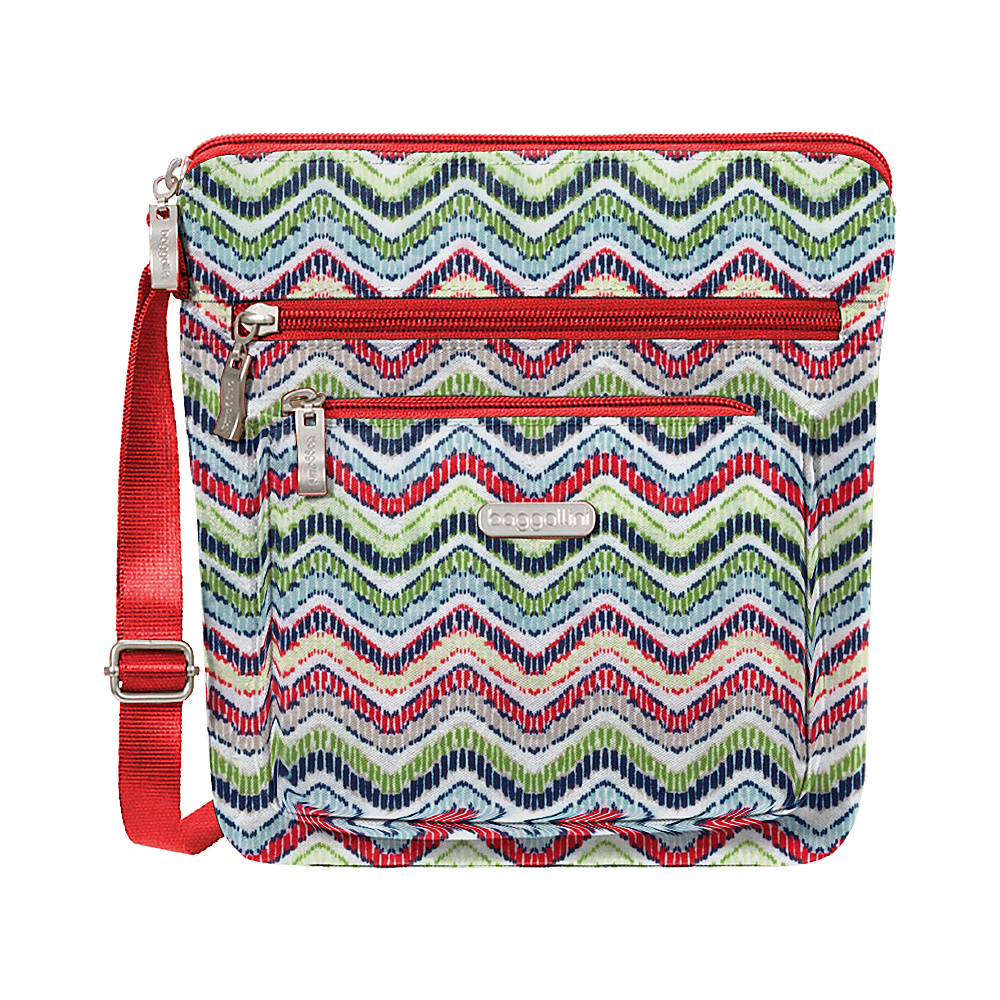 baggallini Pocket Crossbody with RFID Wave Print - baggallini Fabric Handbags - Handbags, Fabric Handbags