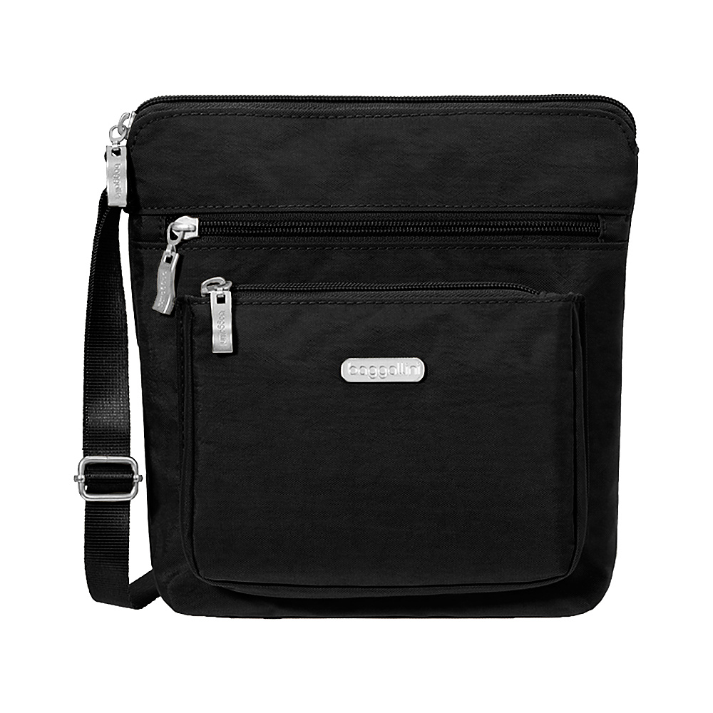 baggallini Pocket Crossbody with RFID Black/Sand - baggallini Fabric Handbags - Handbags, Fabric Handbags