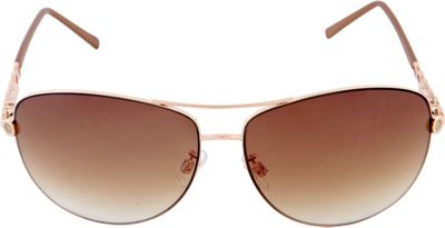 Laundry by Shelli Segal Sunglasses Accented Aviator Sunglasses Gold/Brown - Laundry by Shelli Segal Sunglasses Sunglasses