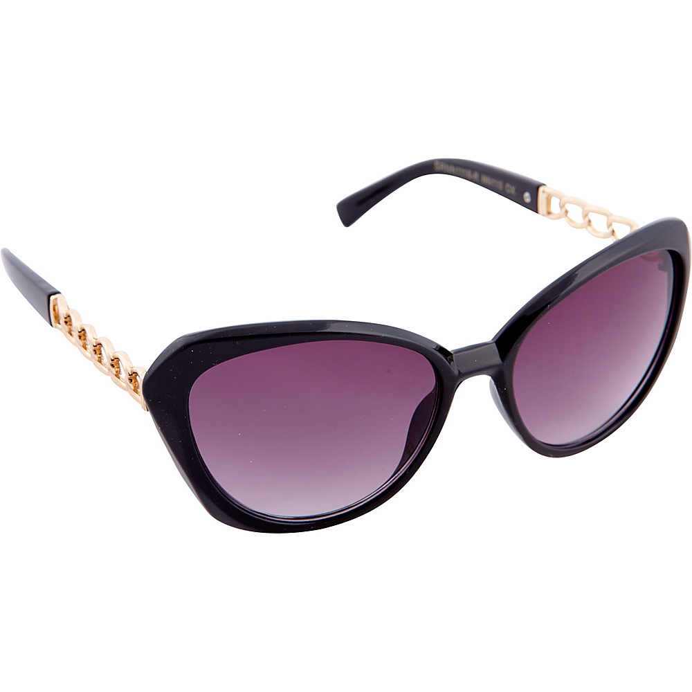 Nanette Nanette Lepore Sunglasses Cat Eye with Metal Chain Sunglasses Black / Rose Gold - Nanette Nanette Lepore Sunglasses Sunglasses