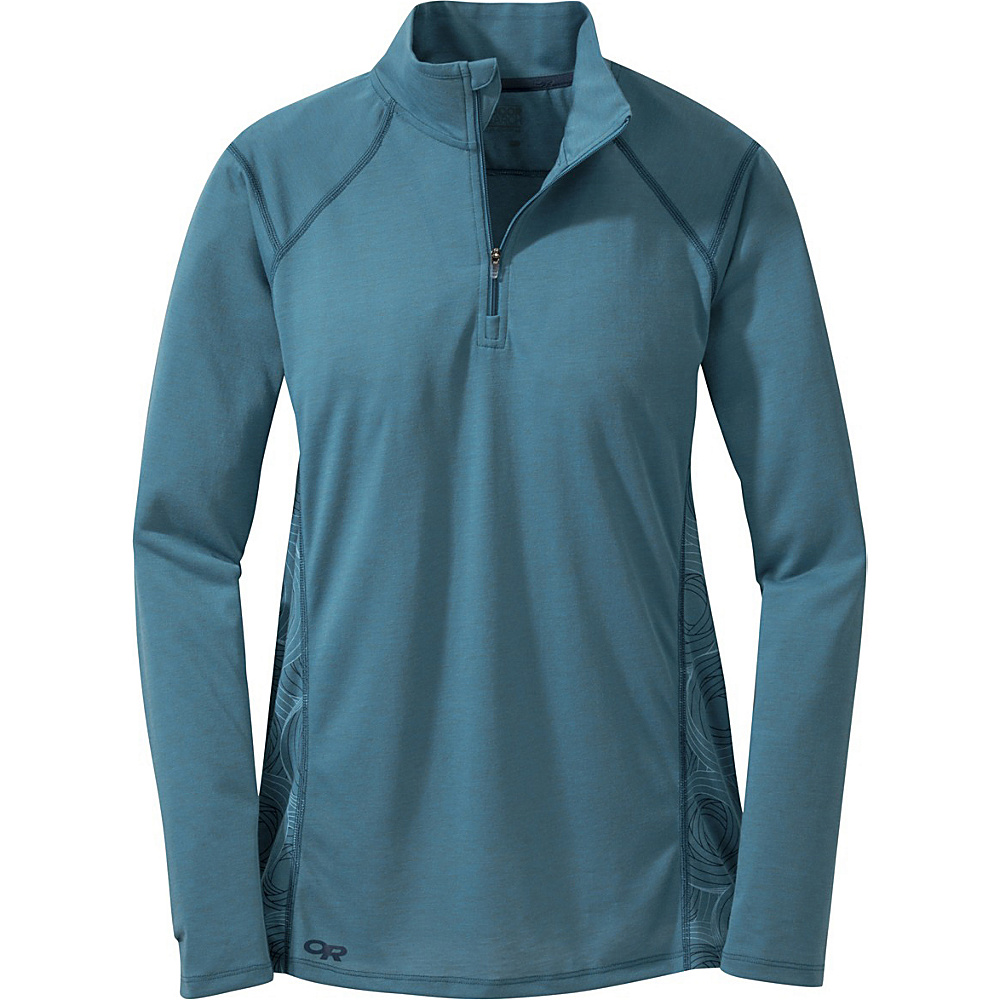 Outdoor Research Womens Essence L/S Zip Top XL - Oasis/Night - Outdoor Research Womens Apparel - Apparel & Footwear, Women's Apparel