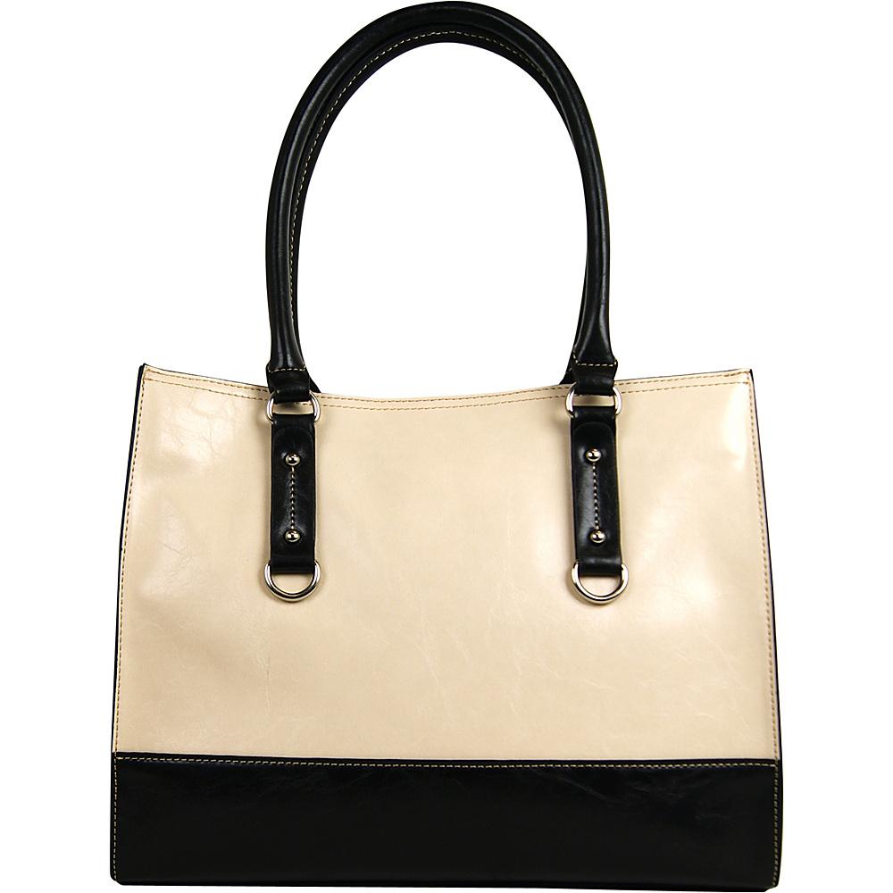 Emilie M Kimberley Tote Ivory Black Emilie M Manmade Handbags