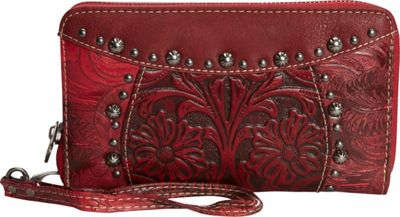 Trinity Ranch Women's Tooled Wallet Red - Trinity Ranch Women's Wallets