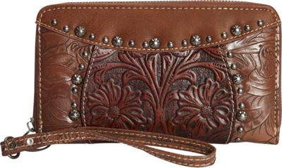 Trinity Ranch Women's Tooled Wallet Brown - Trinity Ranch Women's Wallets