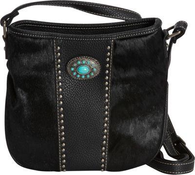 Montana West Calf Hair Crossbody Black - Montana West Manmade Handbags