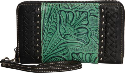 Trinity Ranch Women's Tooled with Braid Wallet Black - Trinity Ranch Women's Wallets