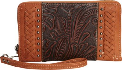 Trinity Ranch Women's Tooled with Braid Wallet Brown - Trinity Ranch Women's Wallets