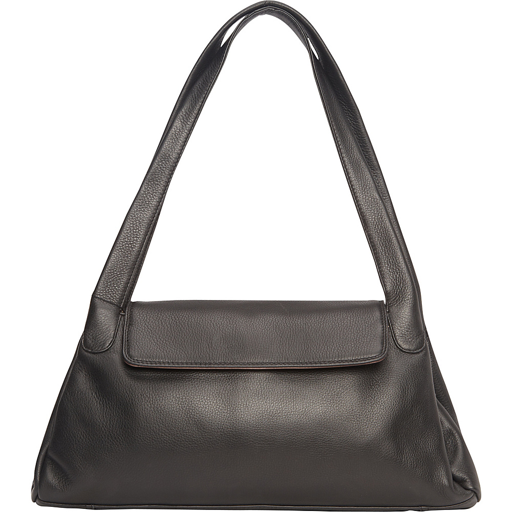 Derek Alexander Top Zip w/ 1/4 Flap, Twin Handle Shoulder Bag Black/Bronze - Derek Alexander Leather Handbags - Handbags, Leather Handbags