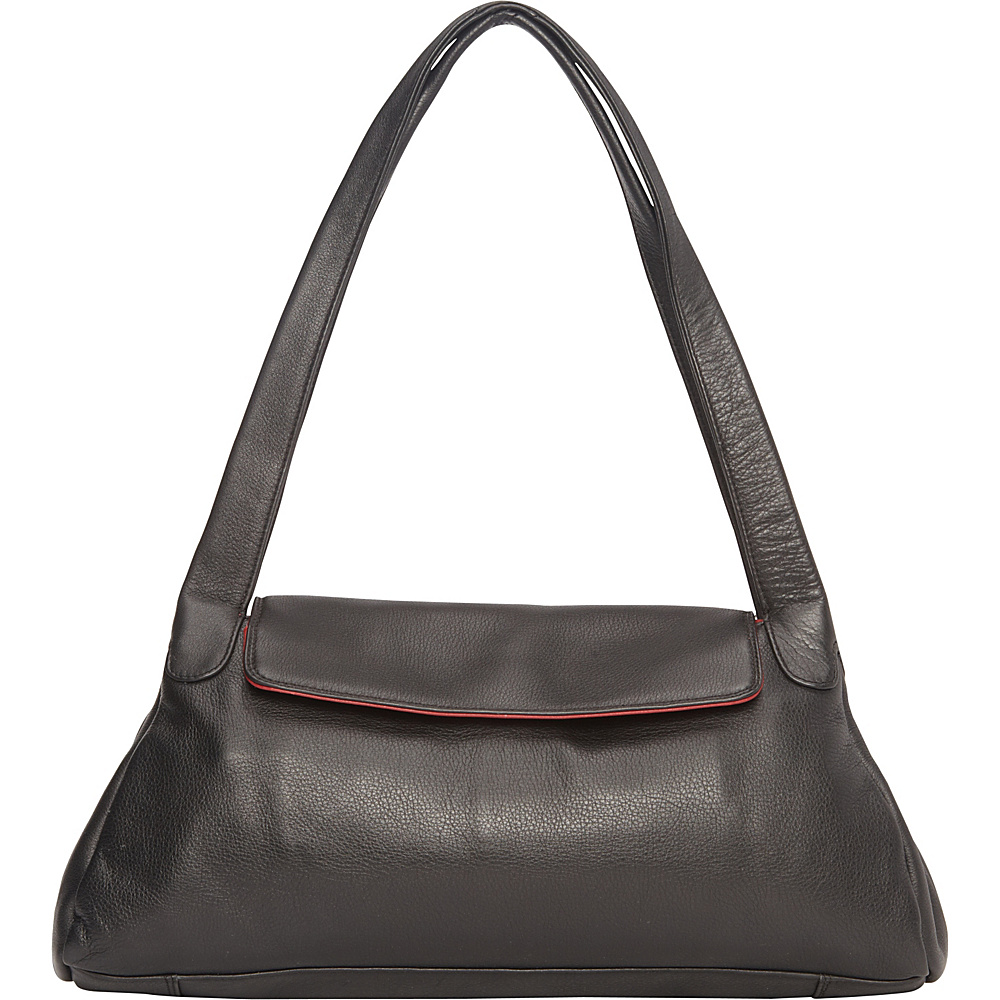 Derek Alexander Top Zip w/ 1/4 Flap, Twin Handle Shoulder Bag BLACK/RED - Derek Alexander Leather Handbags - Handbags, Leather Handbags