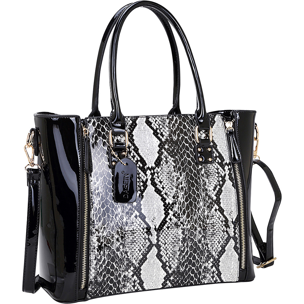 Dasein Patent Faux Leather Zipper Sides with Snakeskin Detail Satchel Black - Dasein Manmade Handbags - Handbags, Manmade Handbags