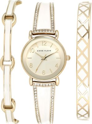 Anne Klein Watches Swarovski Crystal Boxed Bracelet and Bangle Watch Set Ivory/Gold - Anne Klein Watches Watches