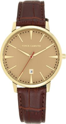 Vince Camuto Watches Men's Round Leather Strap Watch - 46mm Brown - Vince Camuto Watches Watches