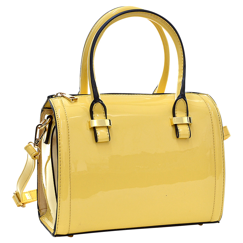 Dasein Mini Patent Leather Barrel Body Satchel Yellow - Dasein Gym Bags - Sports, Gym Bags