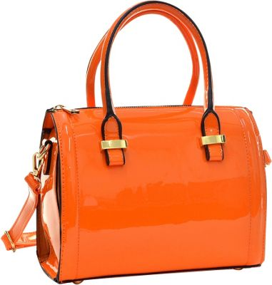 Dasein Mini Patent Leather Barrel Body Satchel Orange - Dasein Gym Bags