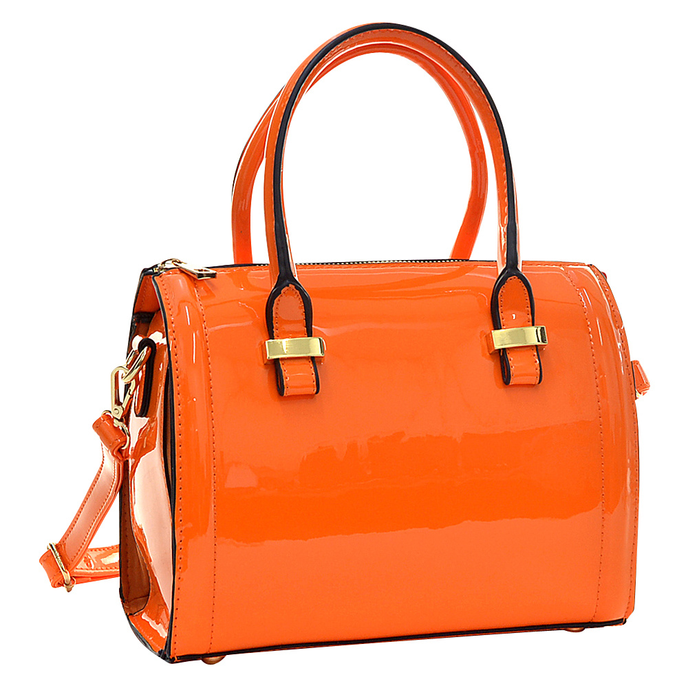 Dasein Mini Patent Leather Barrel Body Satchel Orange - Dasein Gym Bags - Sports, Gym Bags