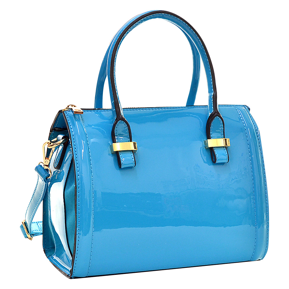 Dasein Mini Patent Leather Barrel Body Satchel Blue - Dasein Gym Bags - Sports, Gym Bags