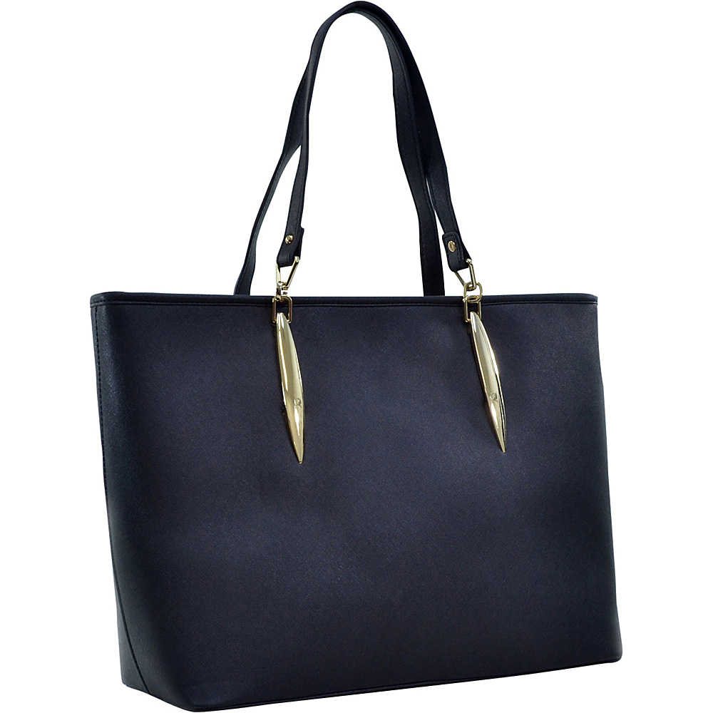 Dasein Large Saffiano Faux Leather Tote with Minimal Accent Hardware Black - Dasein Manmade Handbags - Handbags, Manmade Handbags
