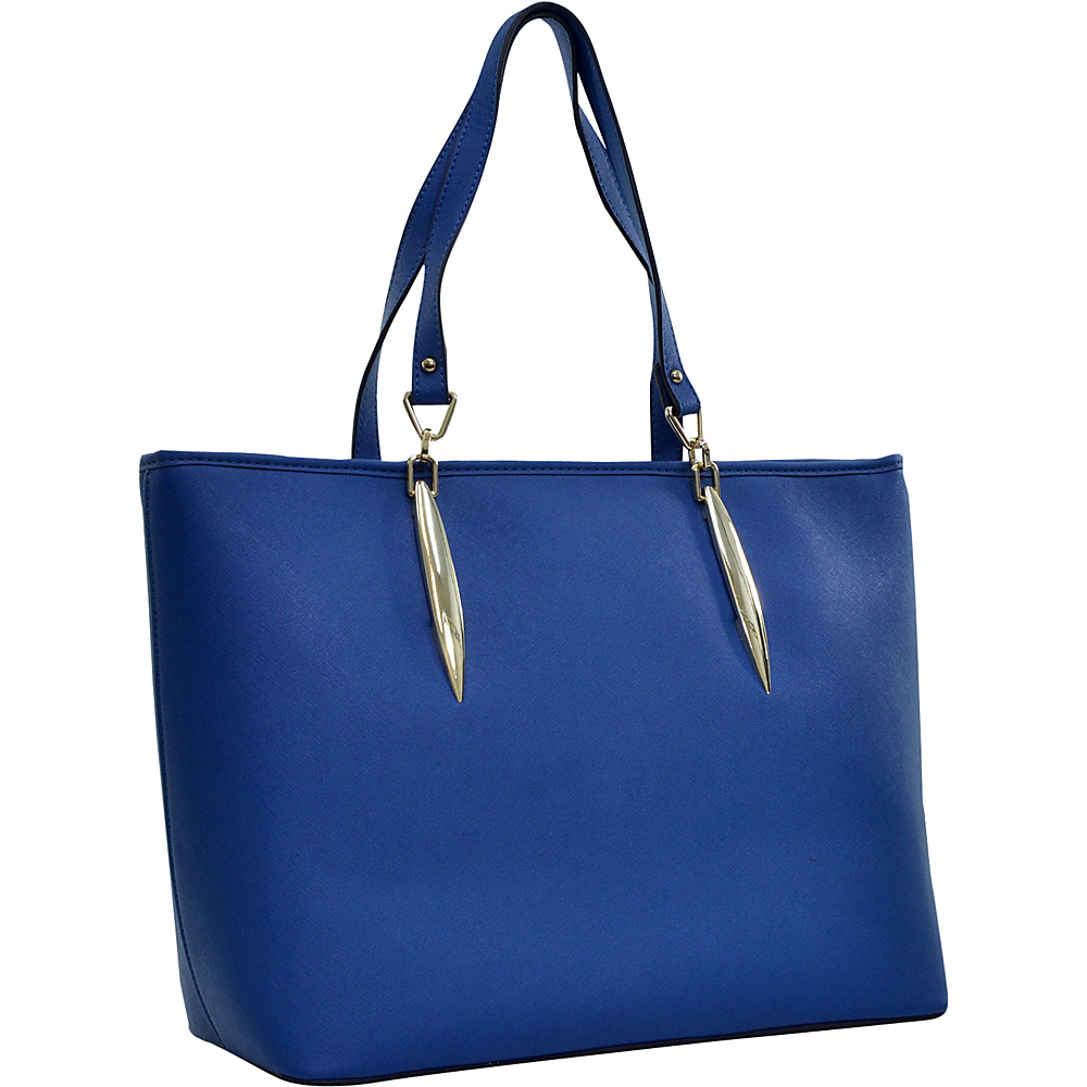 Dasein Large Saffiano Faux Leather Tote with Minimal Accent Hardware Blue - Dasein Manmade Handbags - Handbags, Manmade Handbags