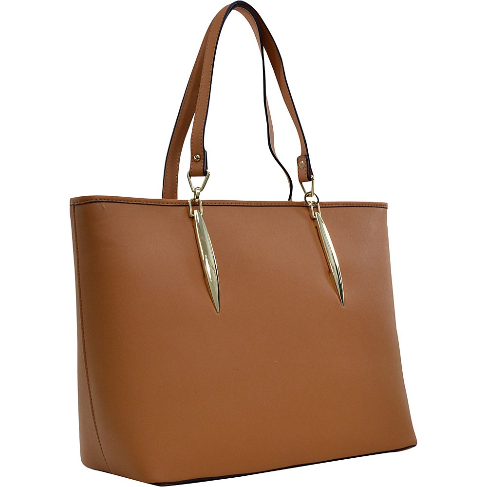 Dasein Large Saffiano Faux Leather Tote with Minimal Accent Hardware Tan - Dasein Manmade Handbags - Handbags, Manmade Handbags
