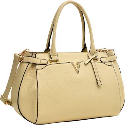Dasein Patent Faux Leather V Shape Accent Satchel Beige -...