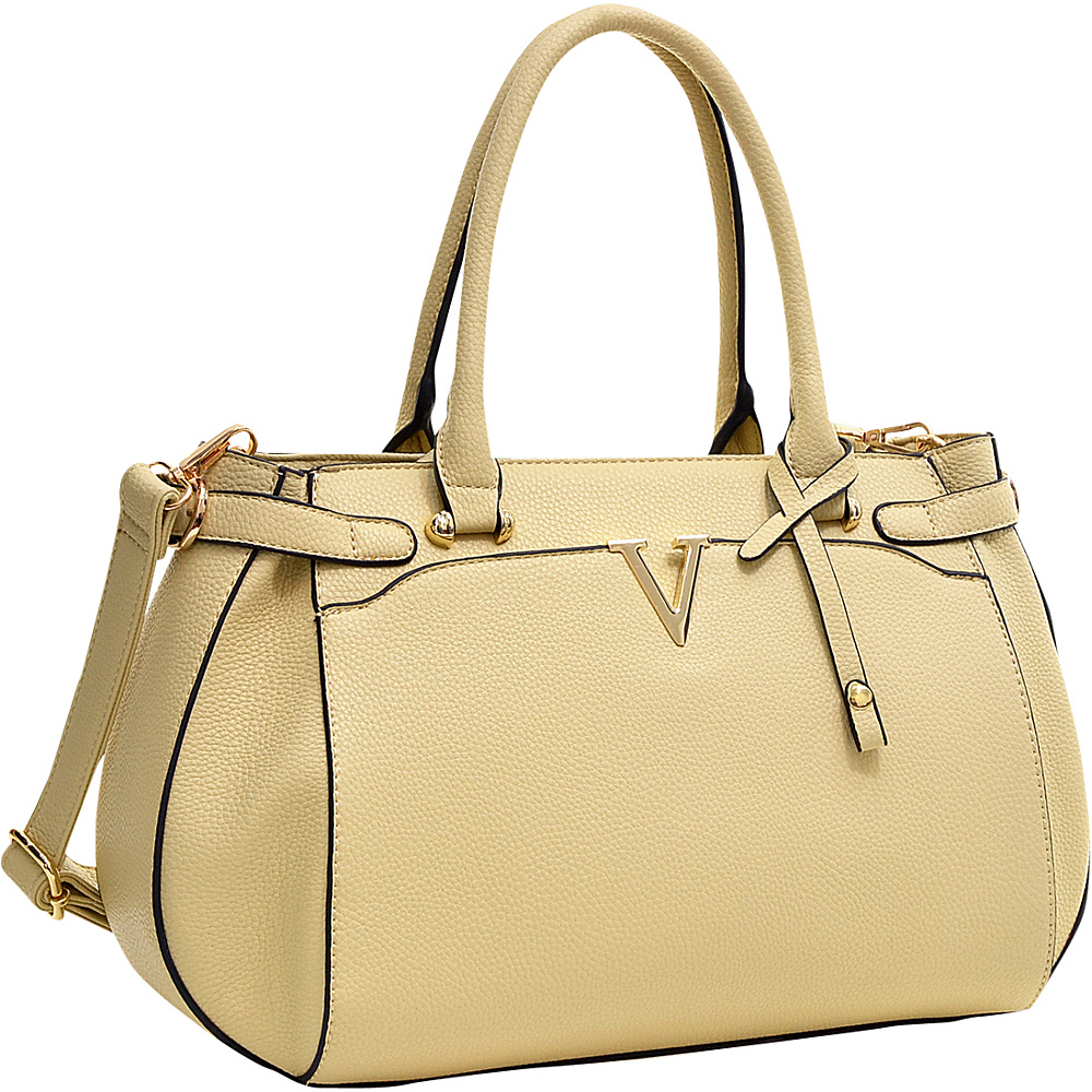 Dasein Patent Faux Leather V Shape Accent Satchel Beige - Dasein Manmade Handbags - Handbags, Manmade Handbags
