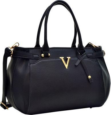 Dasein Patent Faux Leather V Shape Accent Satchel Black -...