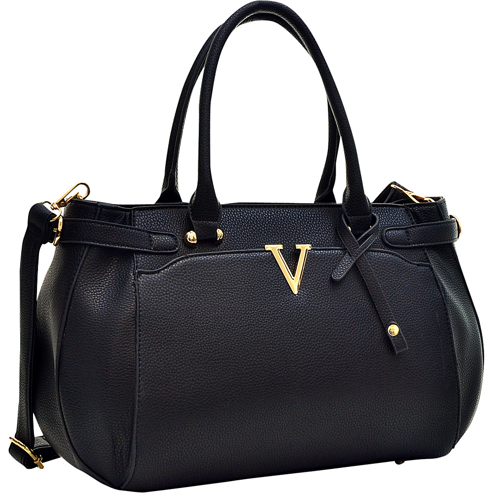 Dasein Patent Faux Leather V Shape Accent Satchel Black - Dasein Manmade Handbags - Handbags, Manmade Handbags
