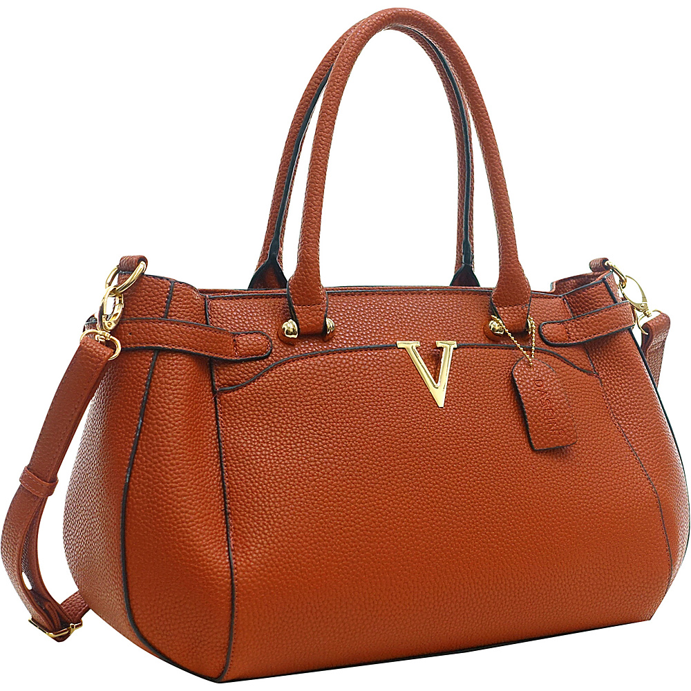 Dasein Patent Faux Leather V Shape Accent Satchel Brown - Dasein Manmade Handbags - Handbags, Manmade Handbags