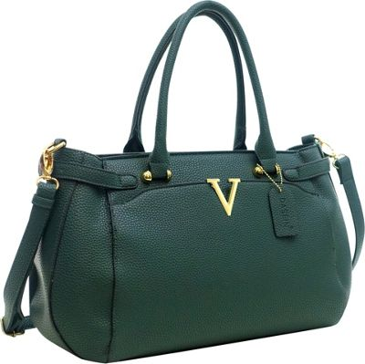 Dasein Patent Faux Leather V Shape Accent Satchel Dark Green - Dasein Manmade Handbags