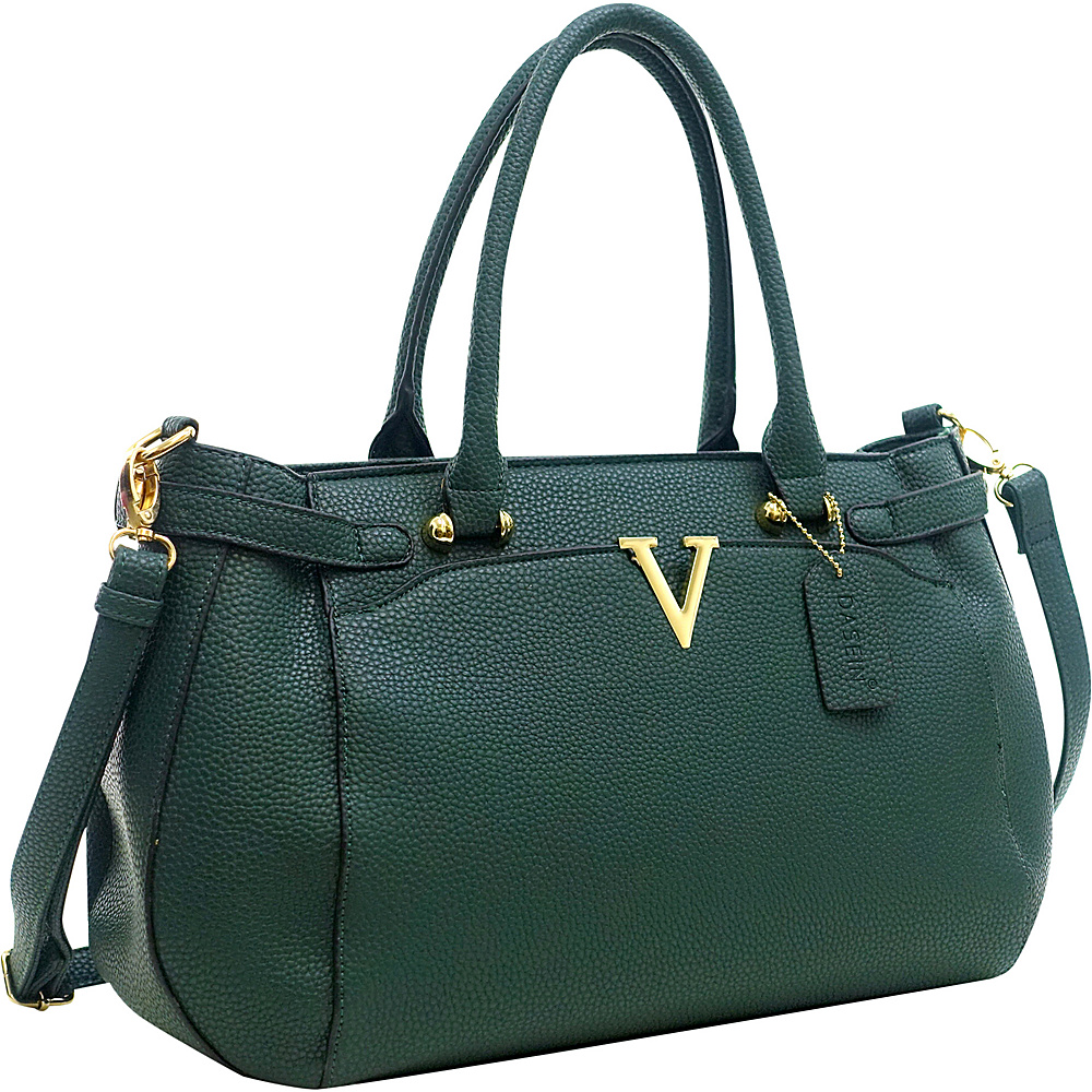 Dasein Patent Faux Leather V Shape Accent Satchel Dark Green - Dasein Manmade Handbags - Handbags, Manmade Handbags