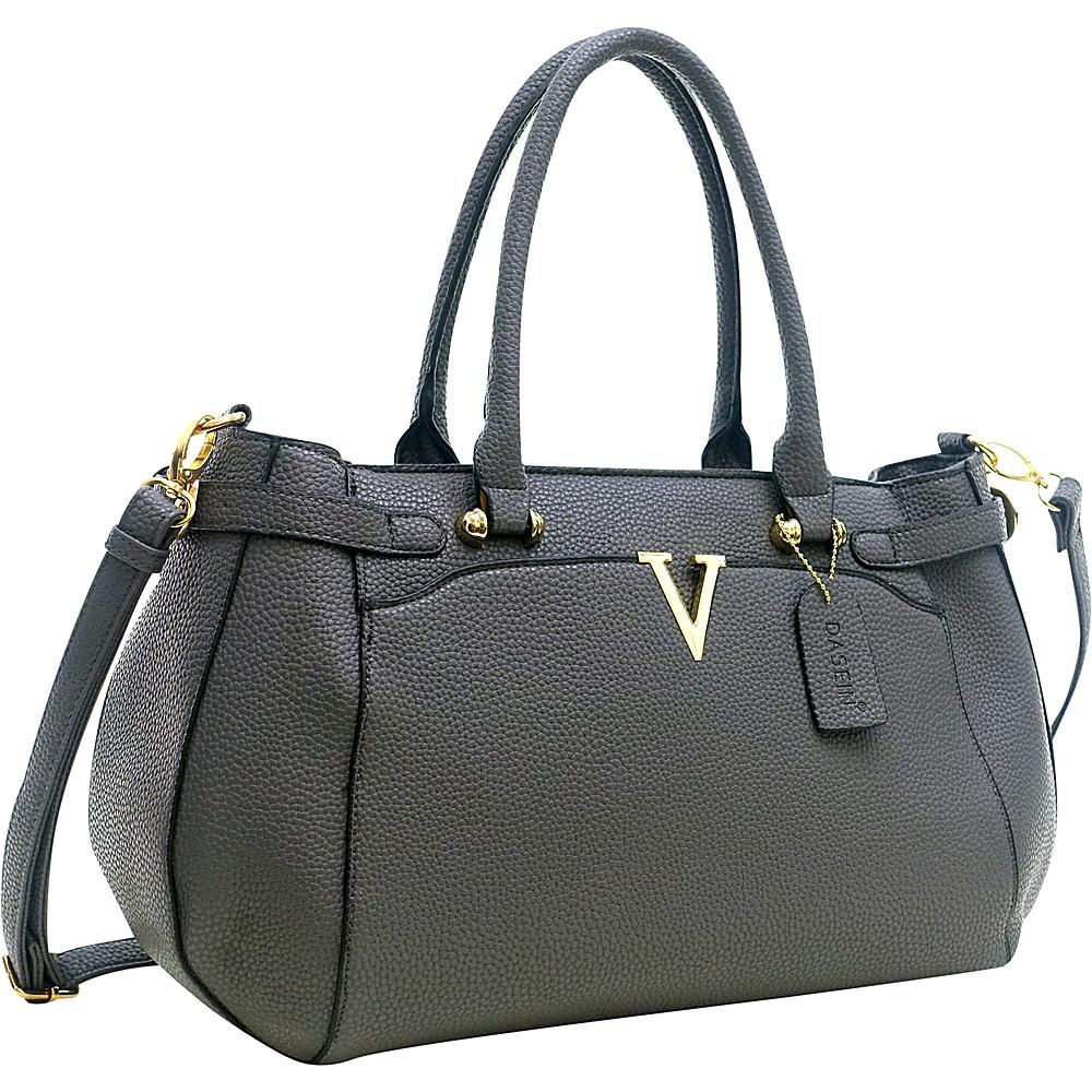 Dasein Patent Faux Leather V Shape Accent Satchel Dark Grey - Dasein Manmade Handbags - Handbags, Manmade Handbags