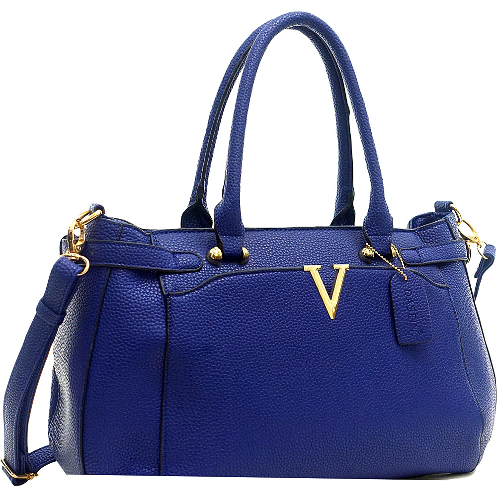 Dasein Patent Faux Leather V Shape Accent Satchel Navy Blue - Dasein Manmade Handbags - Handbags, Manmade Handbags