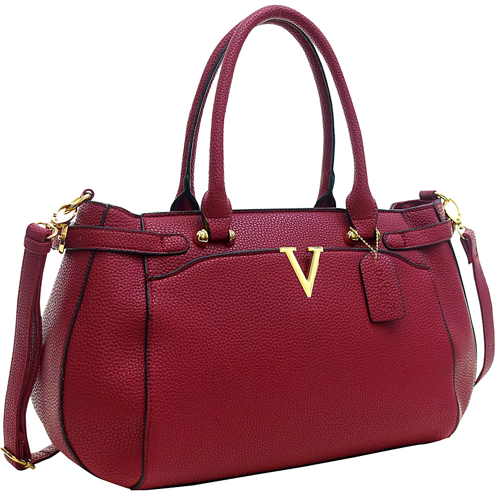 Dasein Patent Faux Leather V Shape Accent Satchel Red - Dasein Manmade Handbags - Handbags, Manmade Handbags