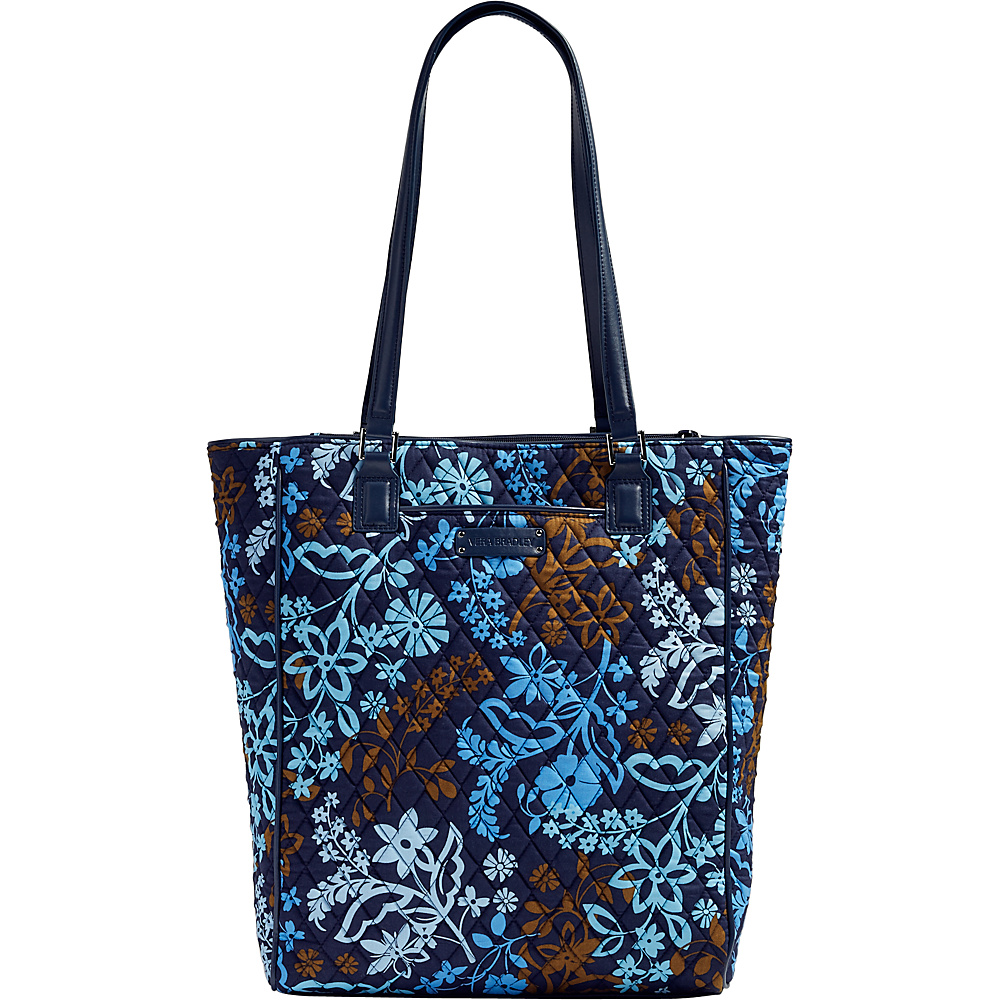 Vera Bradley Crosstown Tote Java Floral with Navy Trim Vera Bradley Fabric Handbags