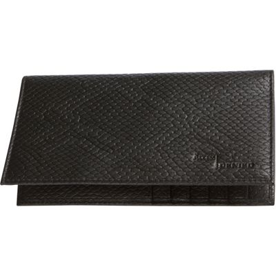 Access Denied RFID Blocking Pebble Leather Checkbook Cover with 6 Credit Card Slots Black Snake - Access Denied Women's Wallets