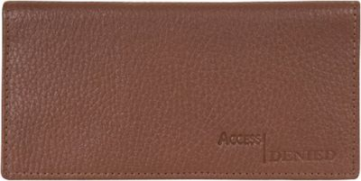 Access Denied RFID Blocking Pebble Leather Checkbook Cover with 6 Credit Card Slots Tan - Access Denied Women's Wallets