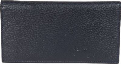 Access Denied RFID Blocking Pebble Leather Checkbook Cover with 6 Credit Card Slots Navy Blue - Access Denied Women's Wallets