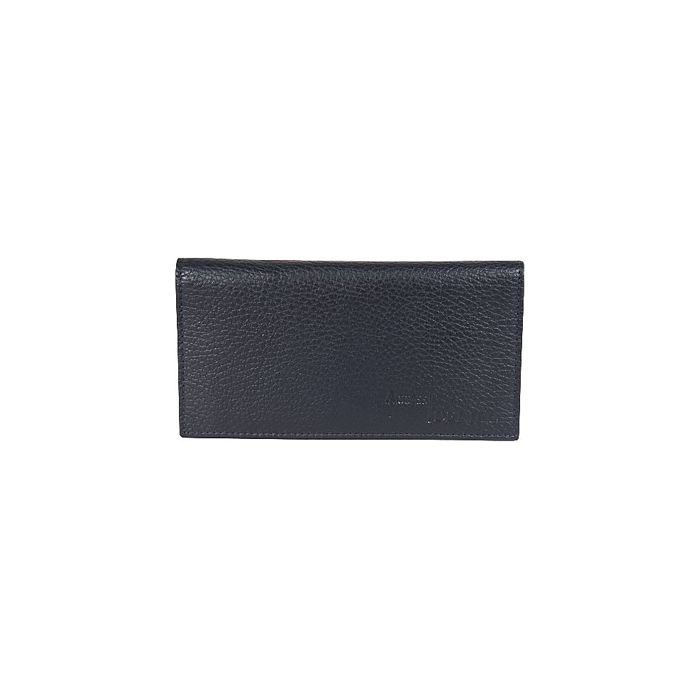 Access Denied RFID Blocking Pebble Leather Checkbook Cover with 6 Credit Card Slots Navy Blue Access Denied Women s Wallets