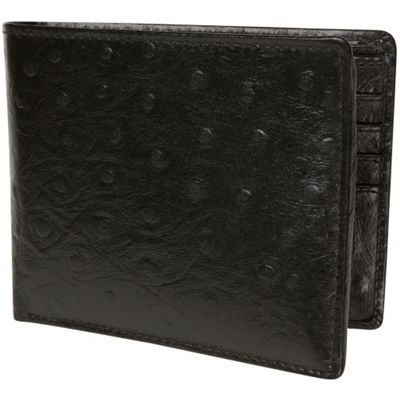 Access Denied Men's RFID Blocking Wallet with Removable ID Mini Wallet Genuine Leather Black Ostrich - Access Denied Men's Wallets