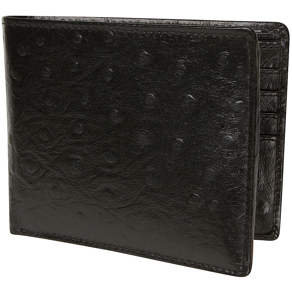 Access Denied Men s RFID Blocking Wallet with Removable ID Mini Wallet Genuine Leather Black Ostrich Access Denied Men s Wallets