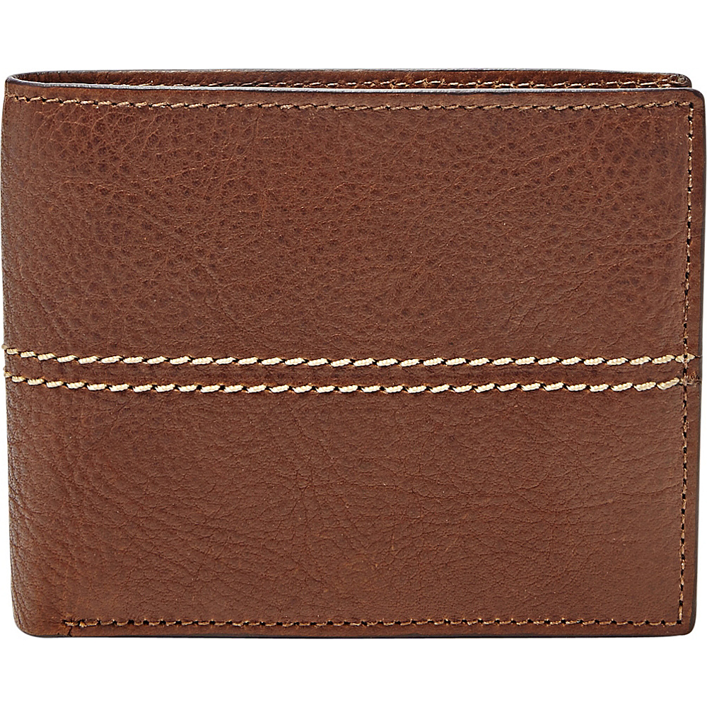 Fossil Turk Large Coin Pocket Bifold Brown - Fossil Mens Wallets - Work Bags & Briefcases, Men's Wallets