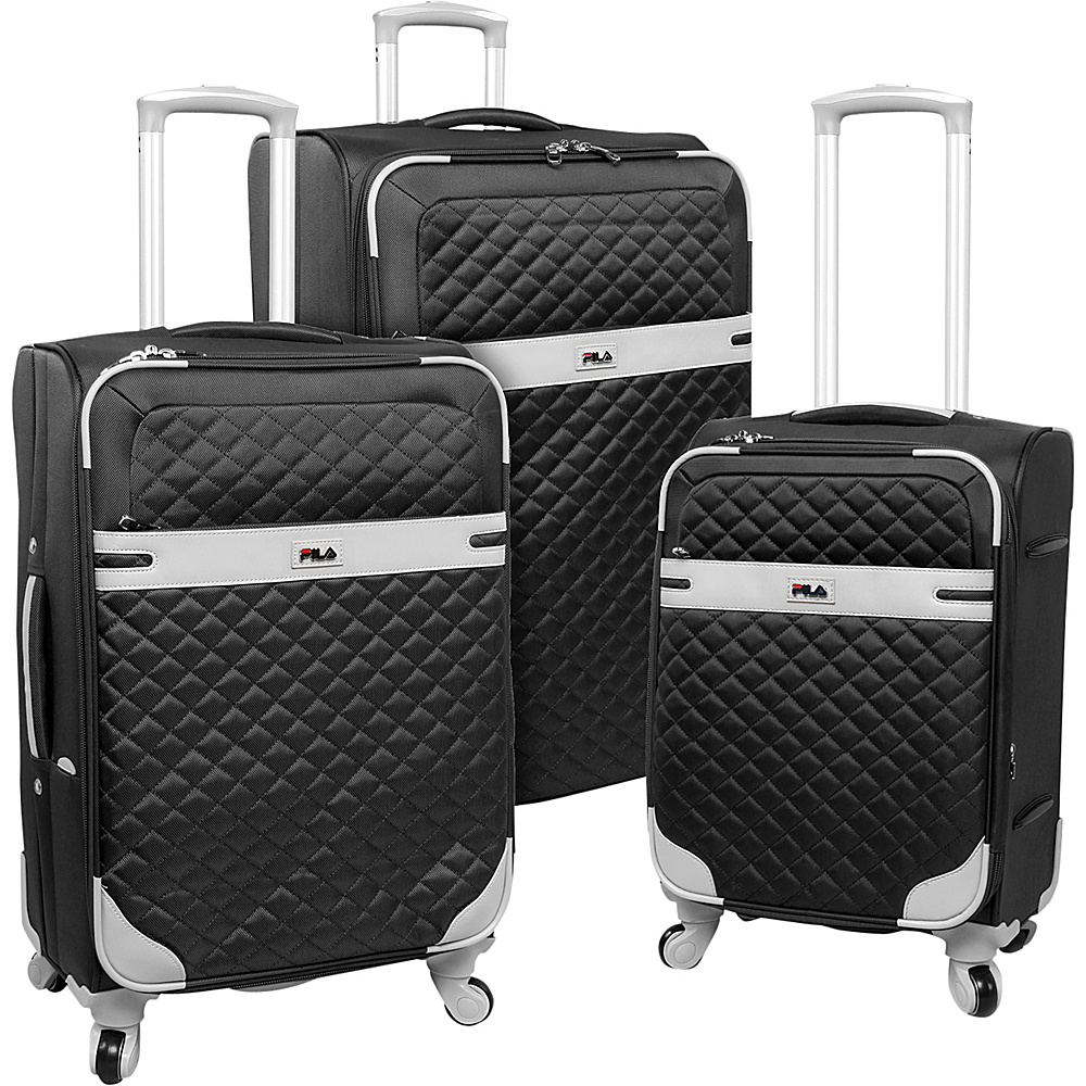 Fila Gabriella 3 Piece Luggage Set Black Fila Luggage Sets