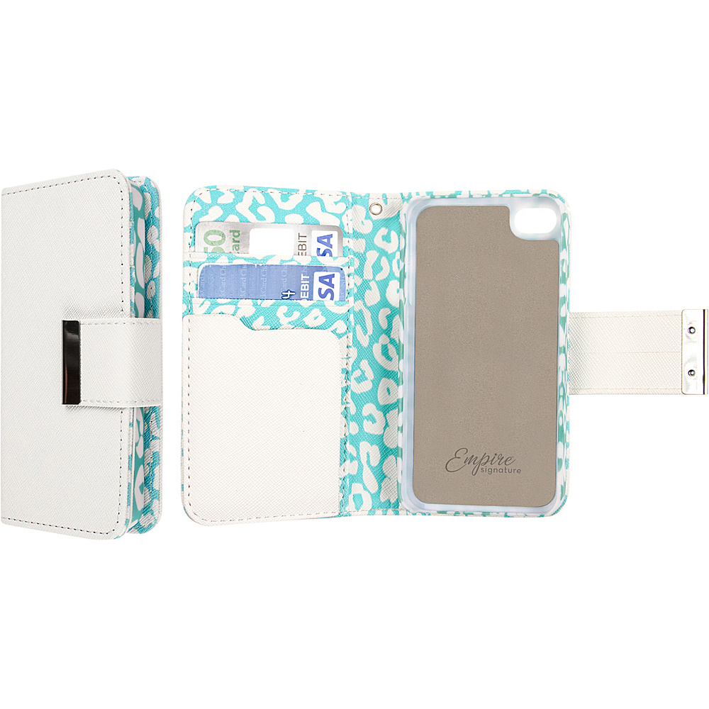 EMPIRE KLIX Klutch Designer Wallet Cases for Apple iPhone 5 5S Mint Leopard EMPIRE Electronic Cases