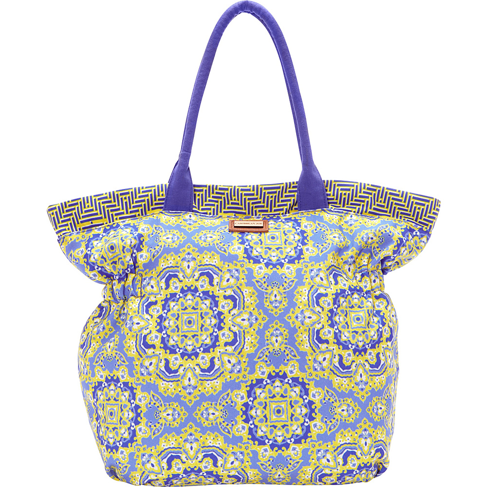 Caribbean Joe Accessories Sundial Paisley Tote Yellow - Caribbean Joe Accessories Fabric Handbags