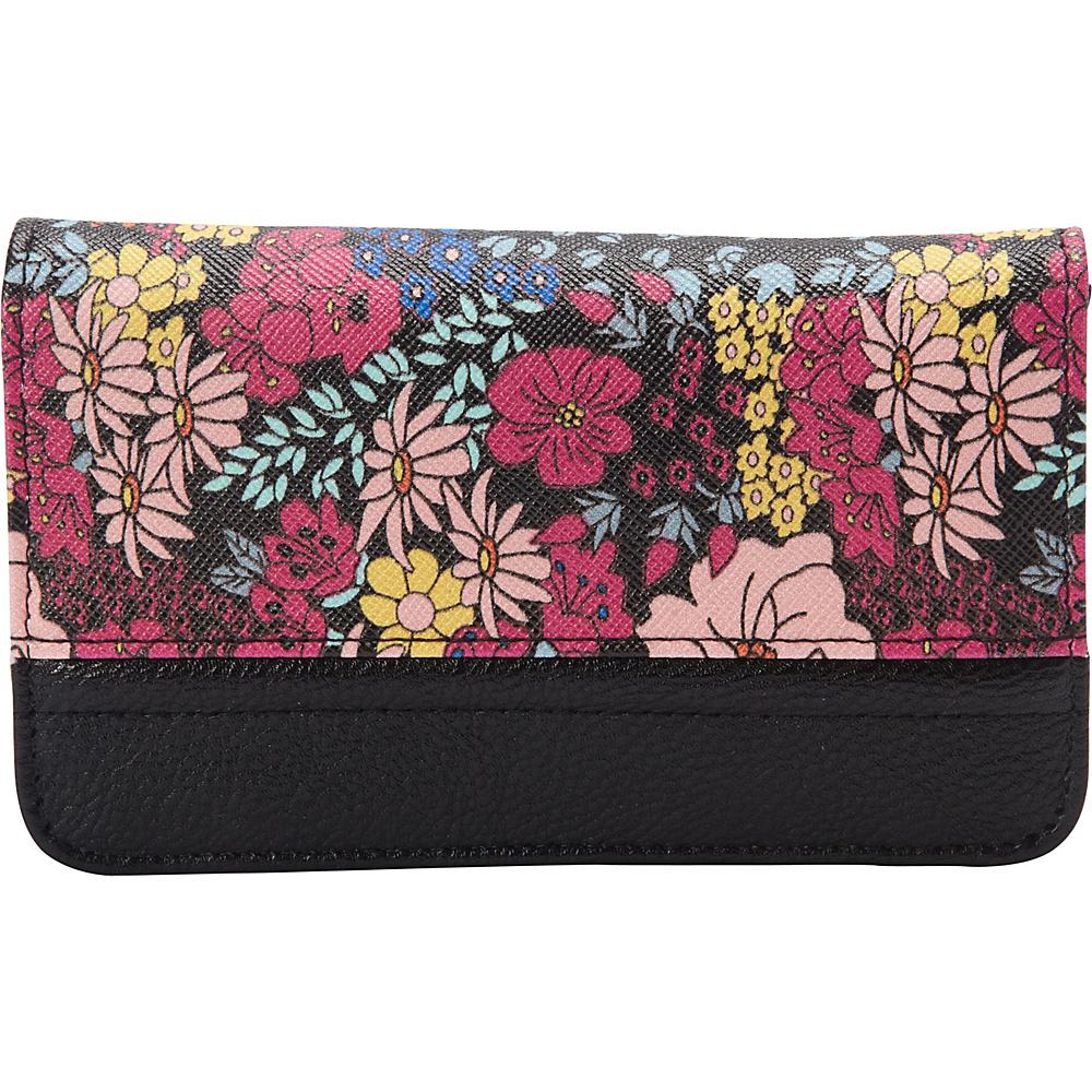 Buxton Ditsy Floral Pik-Me-Up Snap Card Case Black - Buxton Womens Wallets - Women's SLG, Women's Wallets