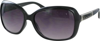 Bob Mackie Sunglasses Oversized Sunglasses with Metal Inset Detail Black and Silver - Bob Mackie Sunglasses Sunglasses