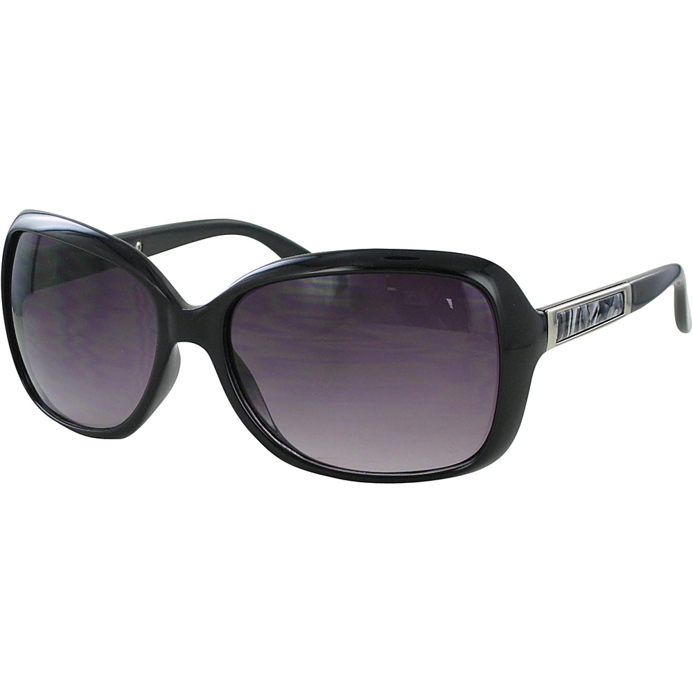 Bob Mackie Sunglasses Oversized Sunglasses with Metal Inset Detail Black and Smoke with Silver - Bob Mackie Sunglasses Sunglasses