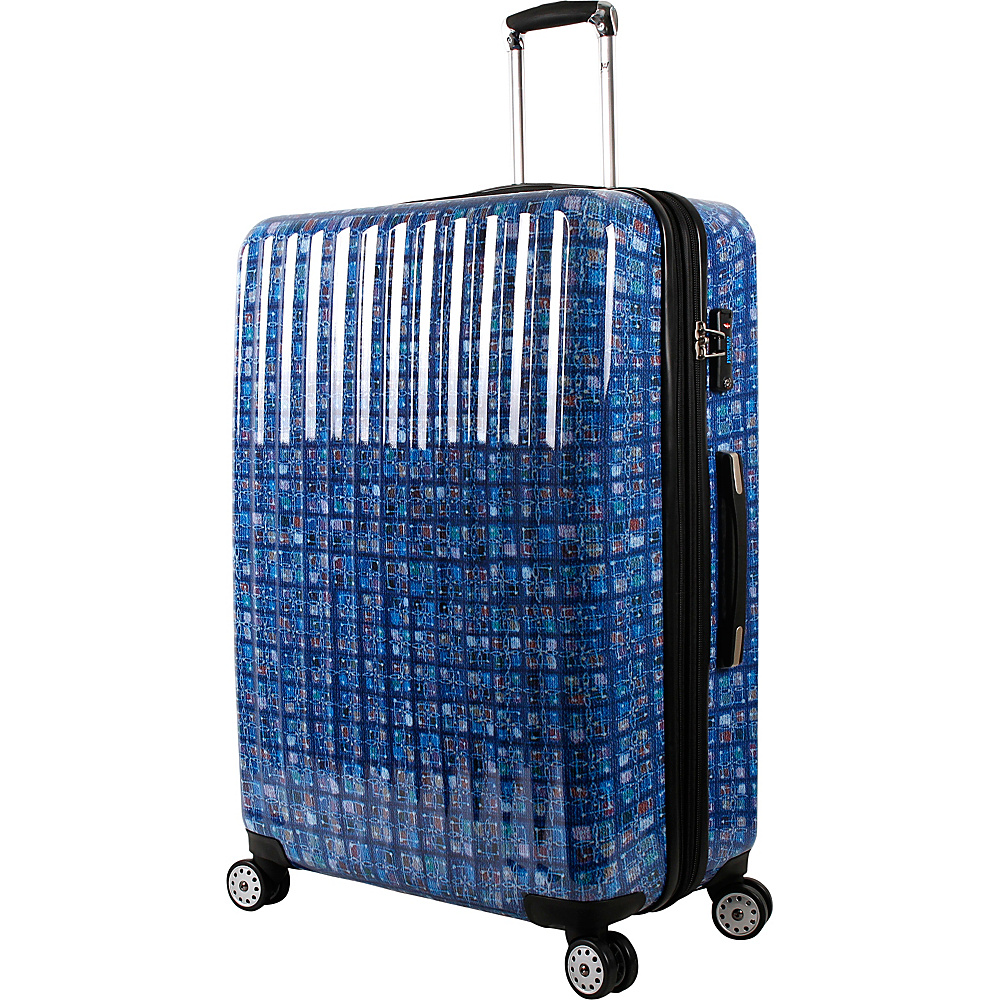 J World New York Titan 29 inch Polycarbonate Art Luggage Logics Blue - J World New York Hardside Checked - Luggage, Hardside Checked