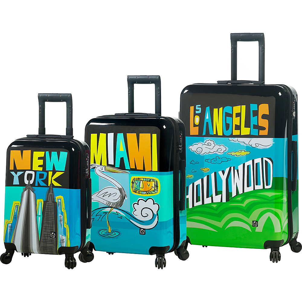 Mia Toro ITALY Lebo Destination USA Luggage Set Multicolor Mia Toro ITALY Luggage Sets